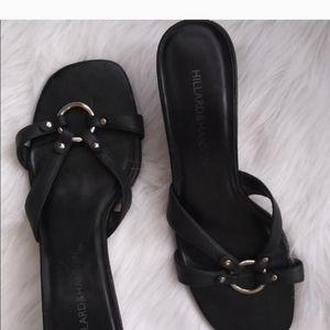 Black Slip On Heeled Sandals